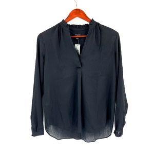 nwt | Ann Taylor Black Pleated Collar Blouse
